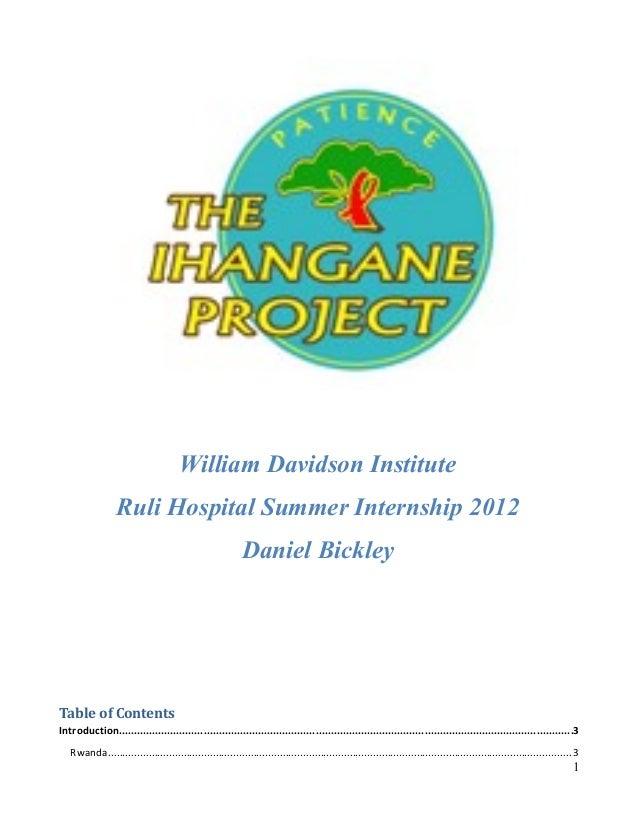 William Davidson Institute                 Ruli Hospital Summer Internship 2012                                           ...