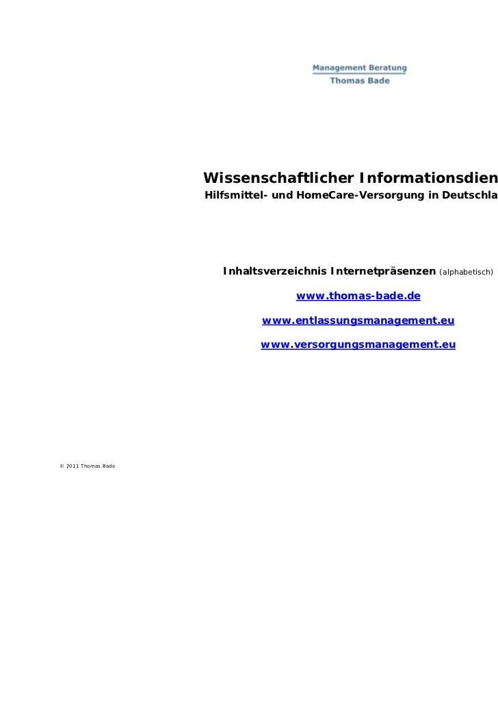Wissenschaftlicher Informationsdienst                     Hilfsmittel- und HomeCare-Versorgung in Deutschland             ...