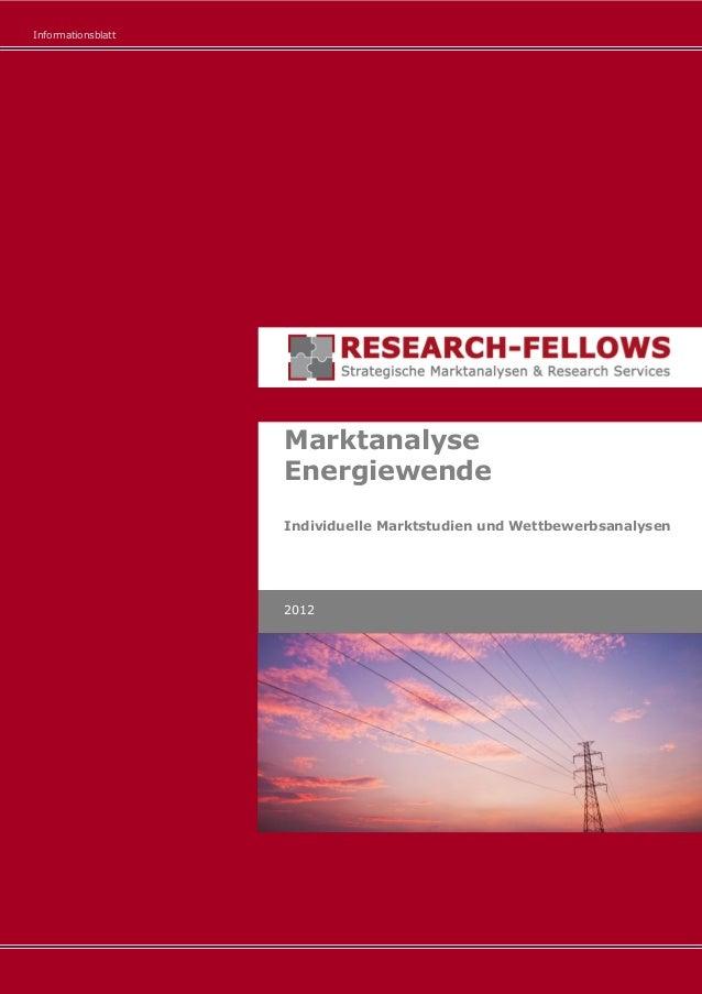 Informationsblatt Marktanalyse Energiewende Individuelle Marktstudien und Wettbewerbsanalysen 2012