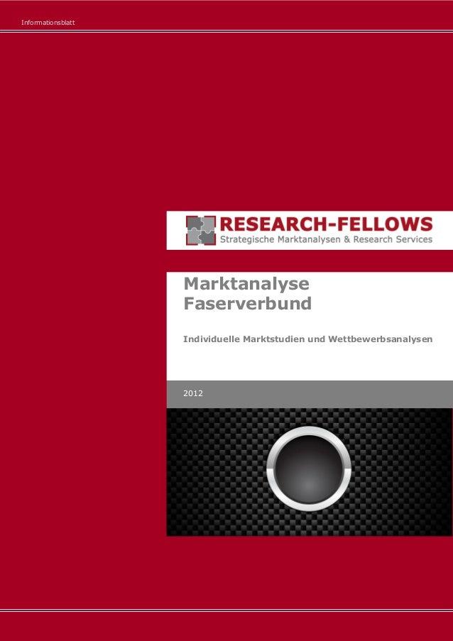 Informationsblatt Marktanalyse Faserverbund Individuelle Marktstudien und Wettbewerbsanalysen 2012