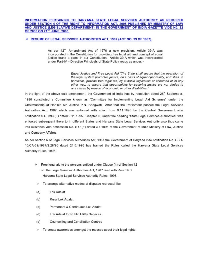 INFORMATION PERTAINING TO HARYANA STATE LEGAL SERVICES AUTHORITY AS REQUIRED UNDER SECTION 4 OF THE RIGHT TO INFORMATION A...