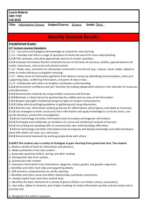 Laurie Roberts FRIT 7737 Fall 2010 Title: Information Literacy Subject/Course: Science Grade: Third Identify Desired Resul...