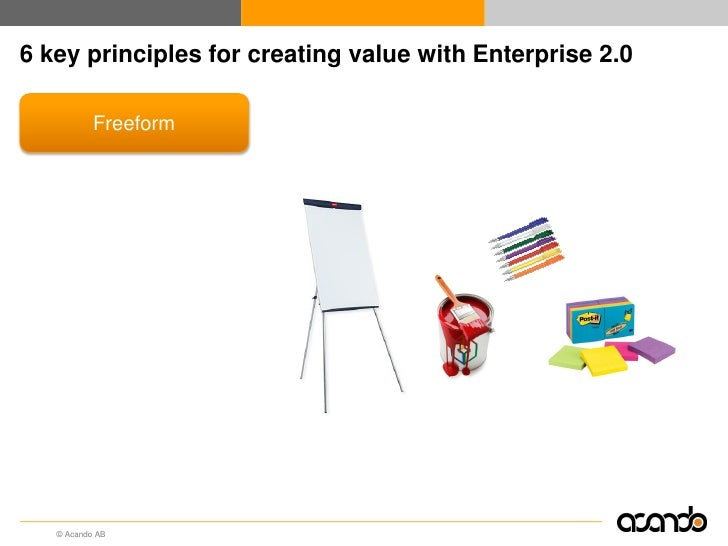 6 key principles for creating value with Enterprise 2.0        Freeform         Usability         Openness