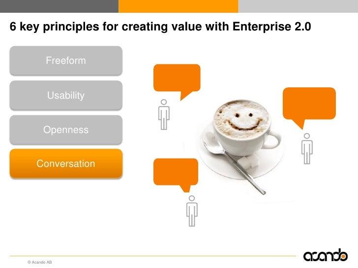 6 key principles for creating value with Enterprise 2.0        Freeform                           Good work!        Usabil...