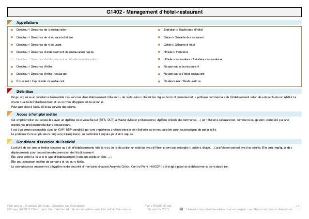 G1402 - Management d'hôtel-restaurant Appellations◤ Directeur / Directrice de la restaurationn Directeur / Directrice de r...