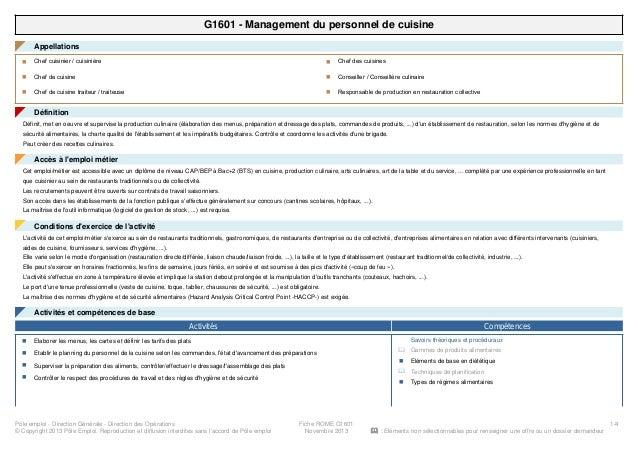G1601 - Management du personnel de cuisine Appellations◤ Chef cuisinier / cuisinièren Chef de cuisinen Chef de cuisine tra...