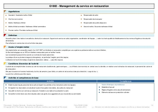 G1802 - Management du service en restauration Appellations◤ Assistant / Assistante maître d'hôteln Chef de room servicen M...