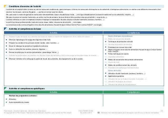 Information metier hotellerie restauration personnel de for Cuisinier pole emploi