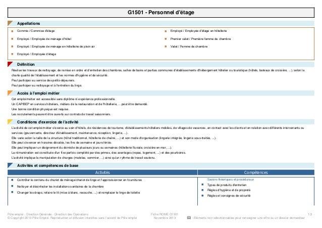 G1501 - Personnel d'étage Appellations◤ Commis / Commise d'étagen Employé / Employée de ménage d'hôteln Employé / Employée...