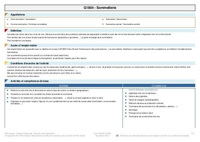 G1804 - Sommellerie Appellations◤ Chef sommelier / sommelièren Commis sommelier / Commise sommelièren Sommelier / Sommeliè...