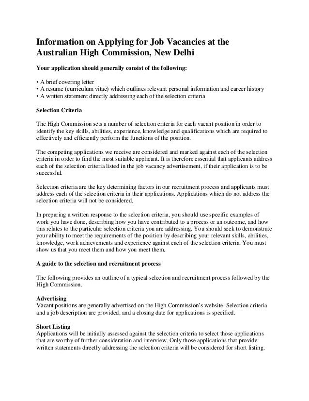 Information on applying for job vacancies at the australian