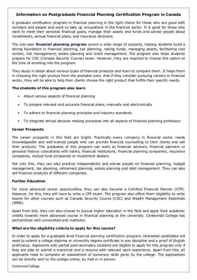 Information On Postgraduate Financial Planning Certification Program