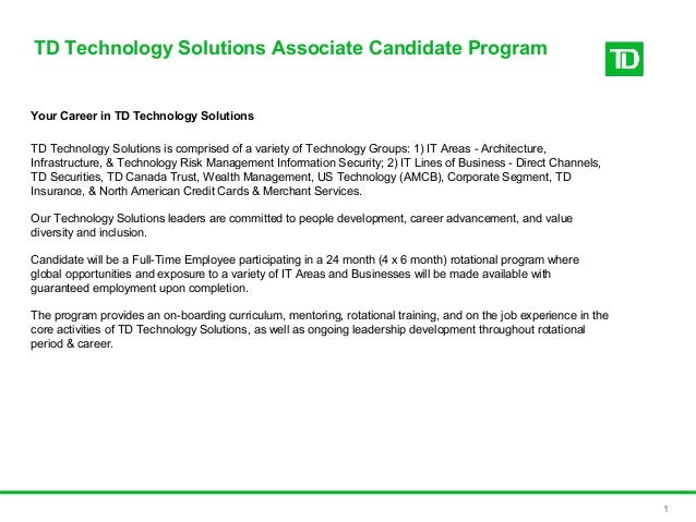 Information on technology solutions associate program for