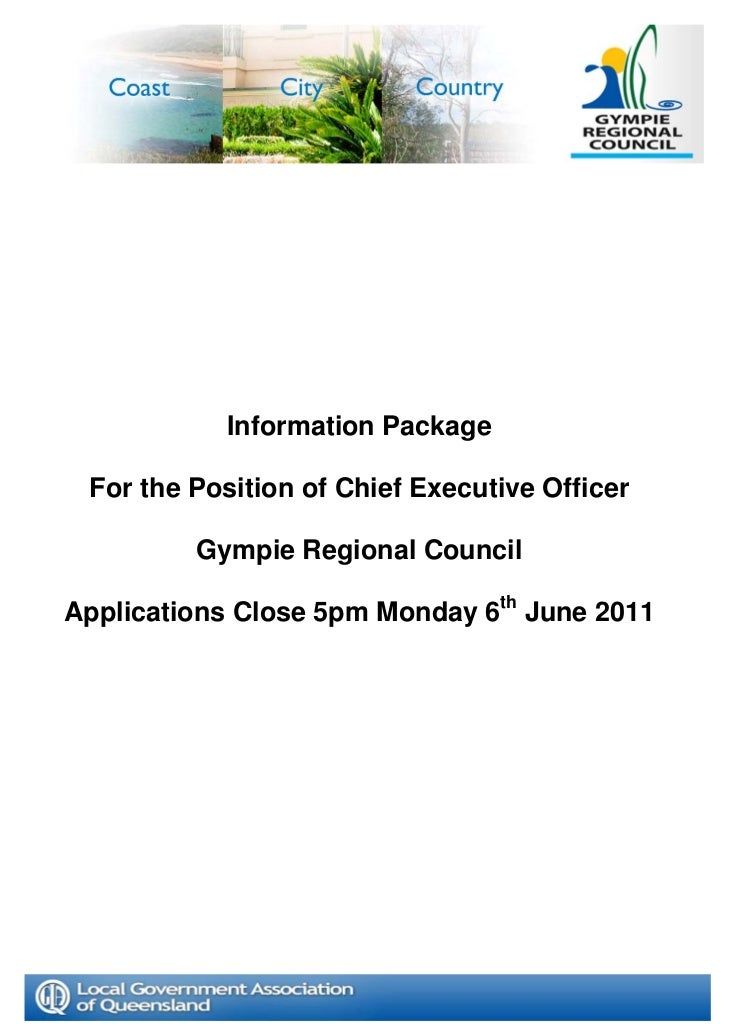 Information Package For the Position of Chief Executive Officer         Gympie Regional CouncilApplications Close 5pm Mond...