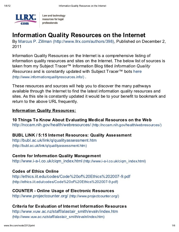 1/6/12                                 Information Qualit Resources on the Internet         Information Qualit Resources o...