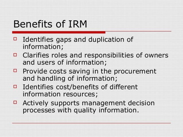 classes of information resource management It supplements the information resources management (irm)  a brief  description of the types and categories of information generally available from the .