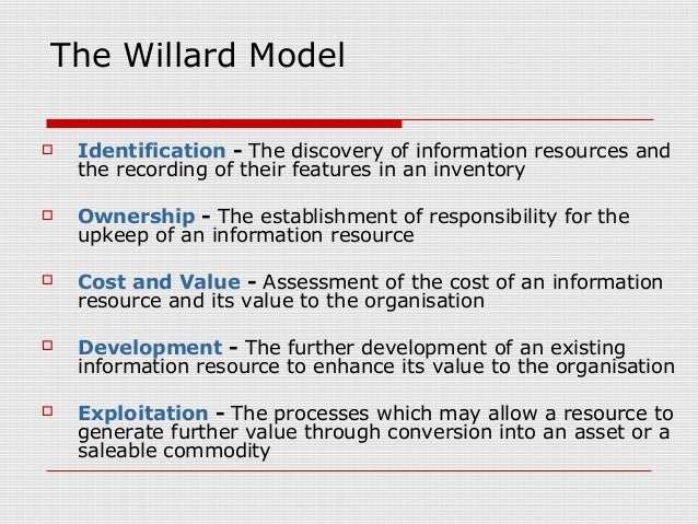 The Willard Model  Identification - The discovery of information resources and the recording of their features in an inve...