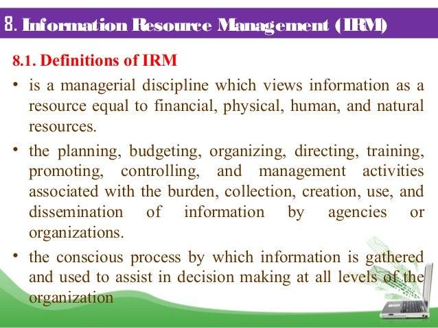 Technology Management Image: Information Resource Management (assignment P Pt
