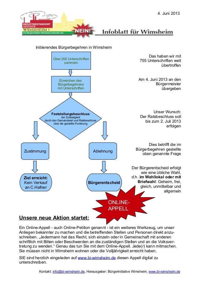 Das haben wir mit755 Unterschriften weitübertroffenAm 4. Juni 2013 an denBürgermeisterübergebenUnser Wunsch:Der Ratsbeschl...
