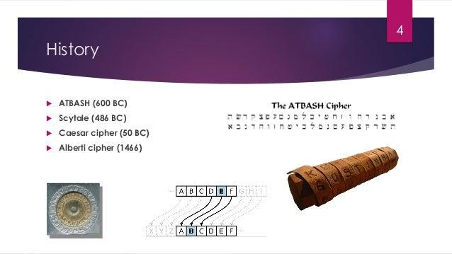 History  ATBASH (600 BC)  Scytale (486 BC)  Caesar cipher (50 BC)  Alberti cipher (1466) 4