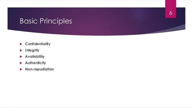 Basic Principles  Confidentiality  Integrity  Availability  Authenticity  Non-repudiation 6