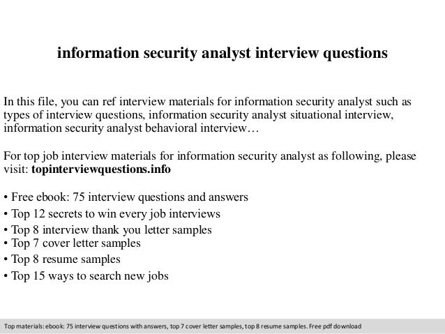 information security analyst interview questions in this file you can ref interview materials for information - Information Security Analyst Resume