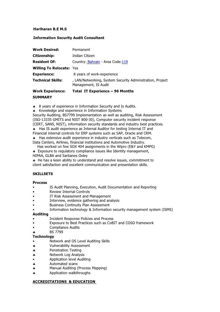 Hariharan B.E M.S  Information Security Audit Consultant   Work Desired:          Permanent Citizenship:           Indian ...