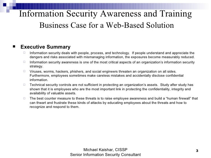 Information Security Awareness And Training Business Case For Web Bas