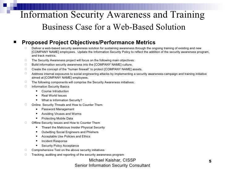 Information Security Awareness And Training Business Case For Web Bas – It Security Policy Template