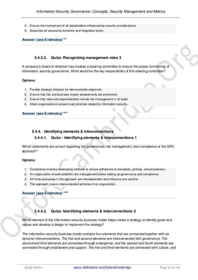 Information Security Governance Concepts Security Management Metr