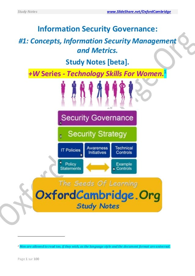 Information Security Governance Concepts Security