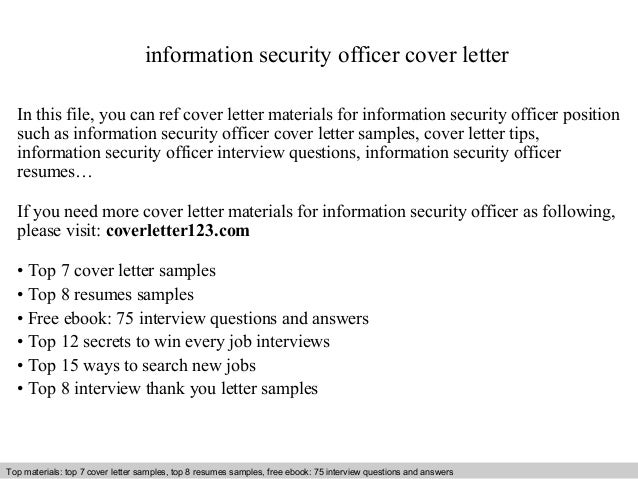 Information security officer cover letter