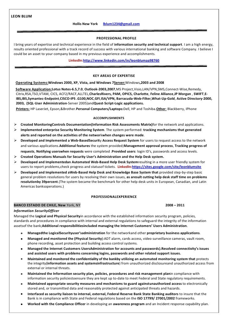 Information Security Officer Internet Resume Leon Blum Copy. LEON BLUM  Hollis ...  Security Guard Sample Resume