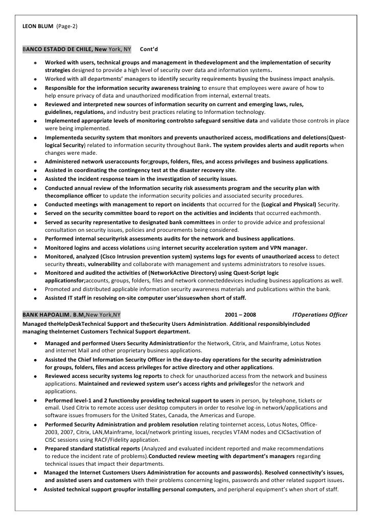2 - Information Security Resume
