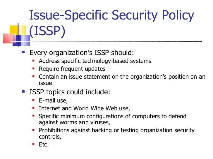 Information security policy 2011 for Issp template