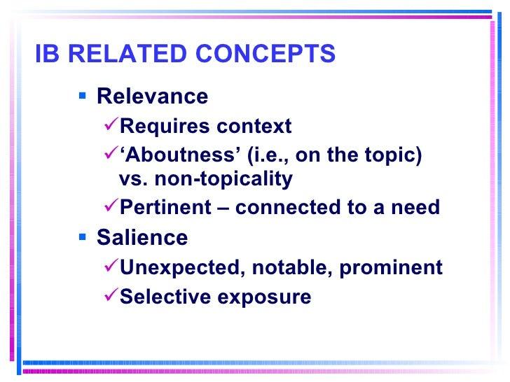 IB RELATED CONCEPTS   <ul><li>Relevance </li></ul><ul><ul><li>Requires context </li></ul></ul><ul><ul><li>' Aboutness' (i....