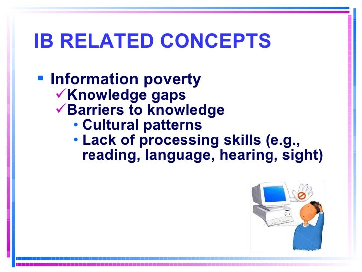 IB RELATED CONCEPTS   <ul><li>Information poverty </li></ul><ul><ul><li>Knowledge gaps </li></ul></ul><ul><ul><li>Barriers...