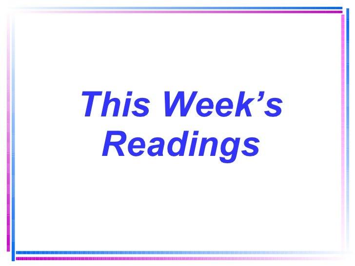 This Week's Readings