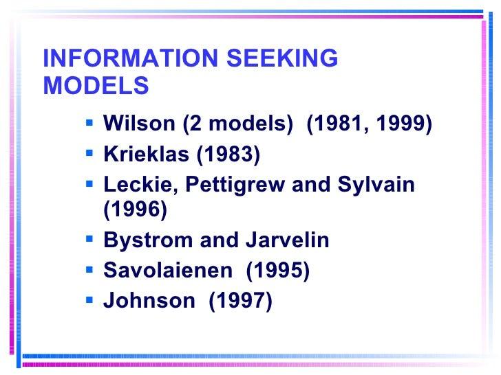 INFORMATION SEEKING MODELS <ul><li>Wilson (2 models)  (1981, 1999) </li></ul><ul><li>Krieklas (1983) </li></ul><ul><li>Lec...