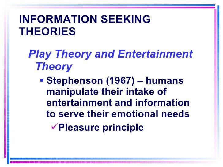 INFORMATION SEEKING THEORIES   <ul><li>Play Theory and Entertainment Theory </li></ul><ul><ul><li>Stephenson (1967) – huma...