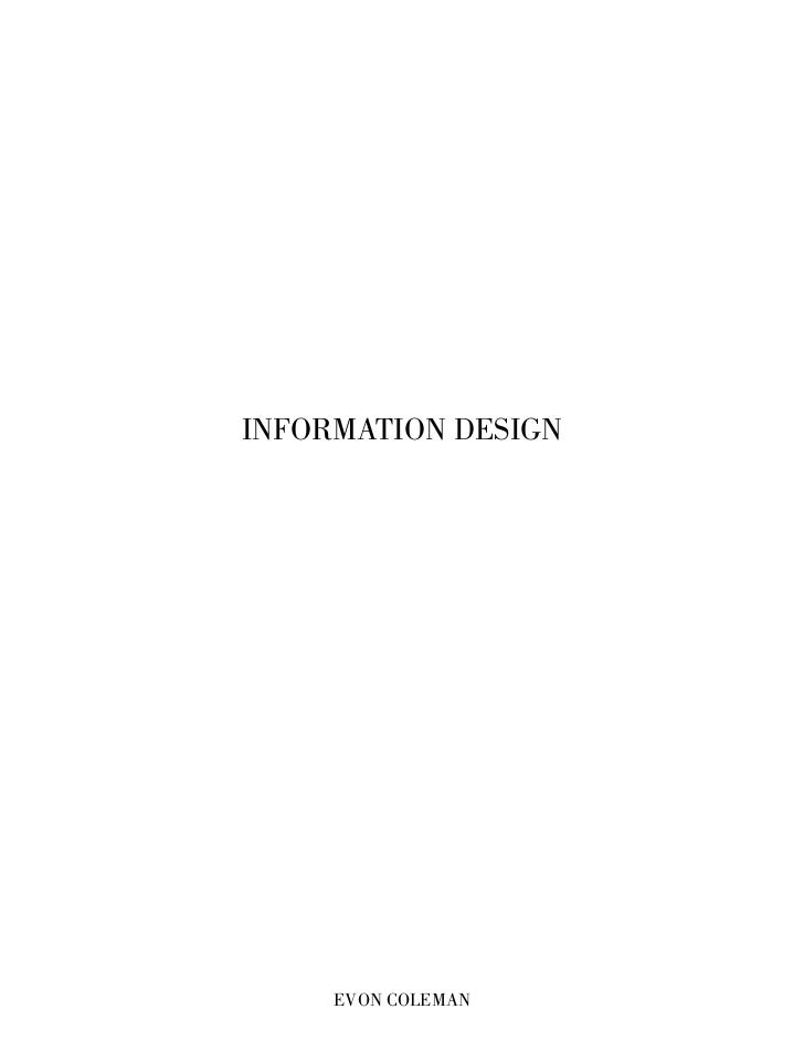 INFORMATION DESIGN     EVON COLEMAN