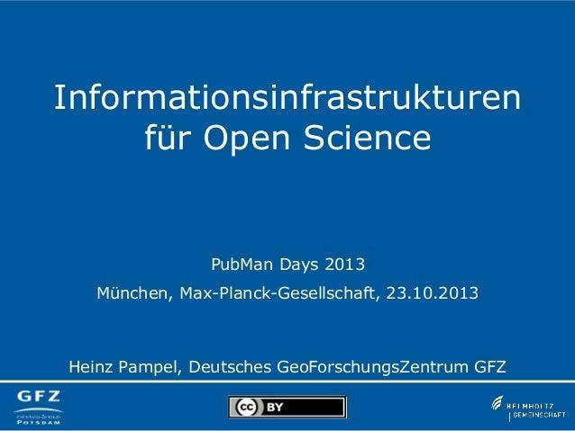 Informationsinfrastrukturen für Open Science  PubMan Days 2013 München, Max-Planck-Gesellschaft, 23.10.2013  Heinz Pampel,...