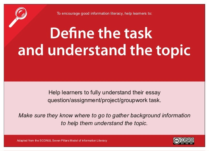                             To encourage good information literacy, help learners to:    De ne the taskand understand the...