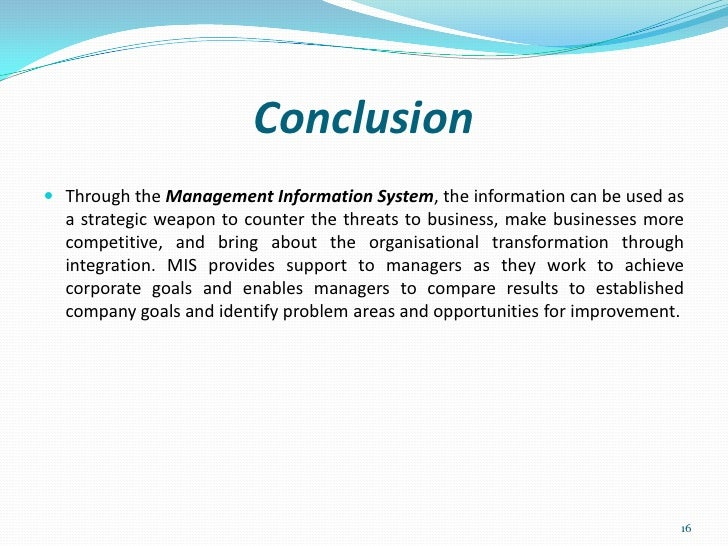 management information system and how mis work and conclusion