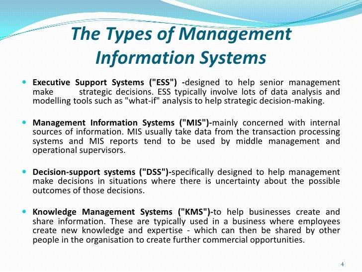 different types of information systems in an organisation