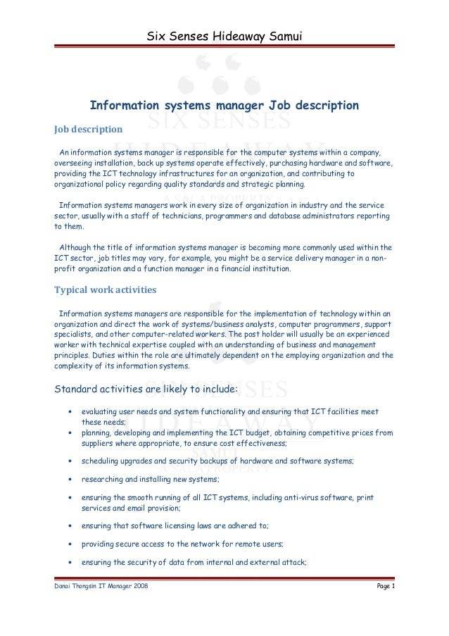 Information Systems Manager Job Description