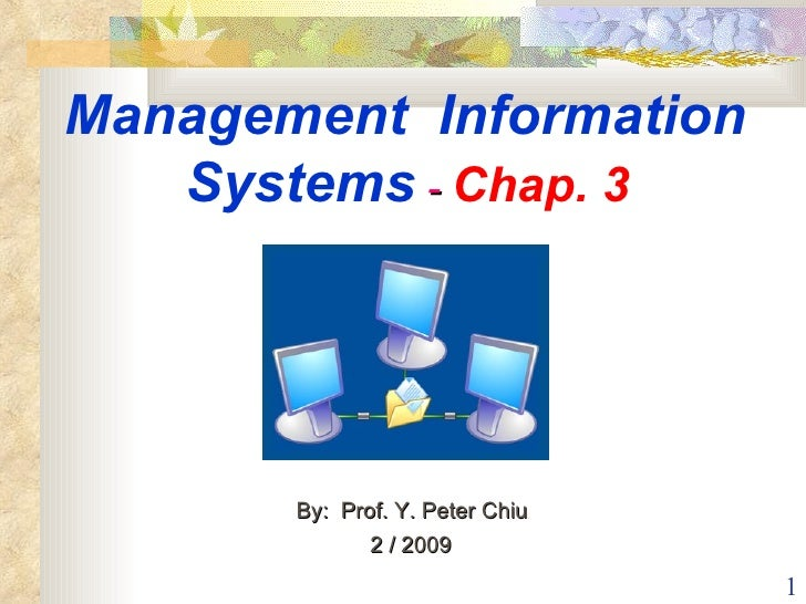 Management  Information  Systems  -  Chap. 3   By:  Prof. Y. Peter Chiu  2 / 2009