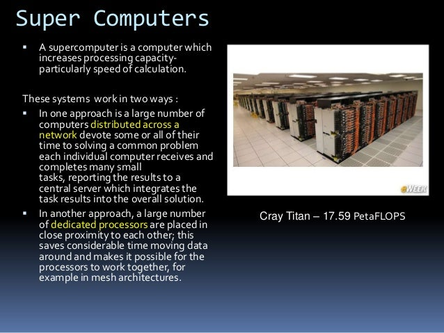 Supercomputers are used for a wide range of computationally intensive tasks in various fields.  Quantum mechanics.  Weat...