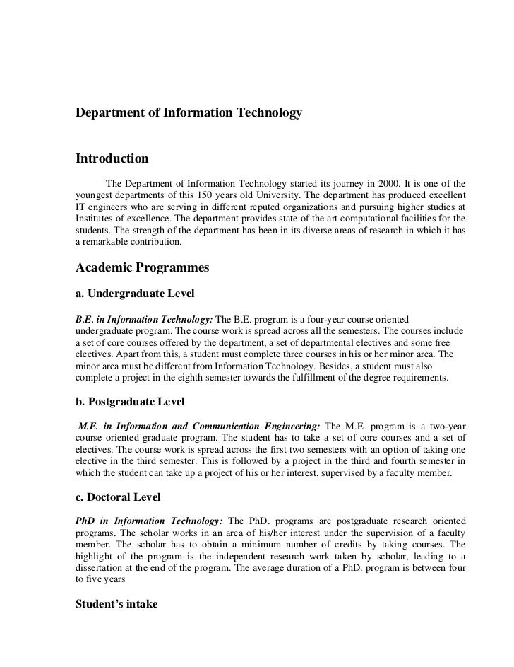 Department of Information TechnologyIntroduction        The Department of Information Technology started its journey in 20...