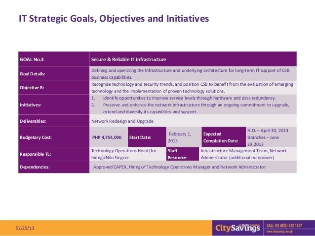 IT Strategic Goals, Objectives and Initiatives GOAL No.3         Secure & Reliable IT Infrastructure                   Def...